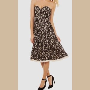Akira Red Label Black/Nude lace strapless dress